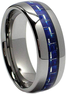 8MM Dome Tungsten Carbide Ring with Blue Carbon Fiber Inlay