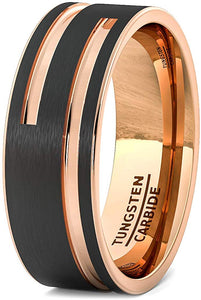 Black Tungsten Ring Rose 2 Rose Gold Side Groove Flat Edge Comfort Fit