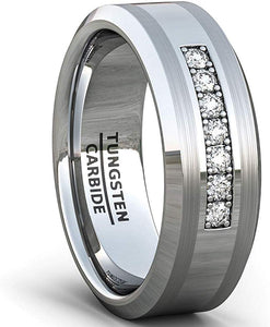 8mm Tungsten Carbide Ring 7 Stone White Sapphire Comfort Fit