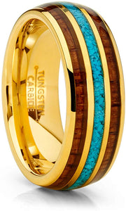 Tungsten Ring Koa Wood Crushed Turquoise Inlay 8mm