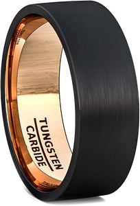 Black Tungsten Ring 8mm Rose Gold Inside Matted Brushed Flat Edge Comfort Fit