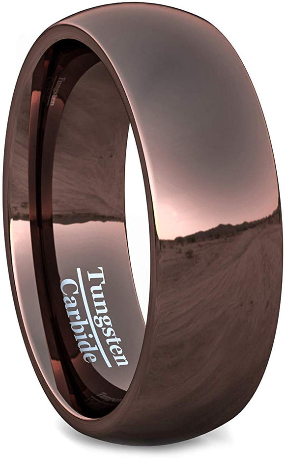 8mm Brown Tungsten Rings Dome Style Comfort Fit
