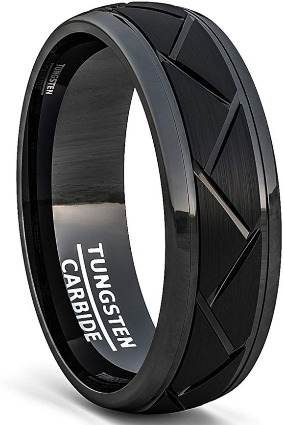 8mm Tungsten Carbide Ring Matte Brushed Zigzag Groove Line Comfort Fit Black