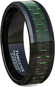 8mm Black Tungsten Carbon Fiber Rings Beveled Edge Comfort Fit Green