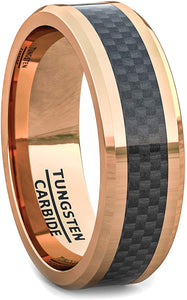 8mm Tungsten Rose Gold Ring Black Carbon Fiber Surface Beveled Edges Comfort Fit