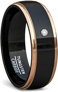 8mm Black Tungsten Rings Dome Surface Rose Gold Step Edges White Sapphire Comfort Fit
