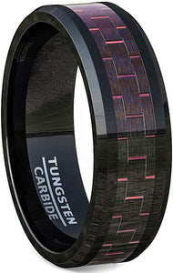 8mm Black Tungsten Carbon Fiber Rings Beveled Edge Comfort Fit Red
