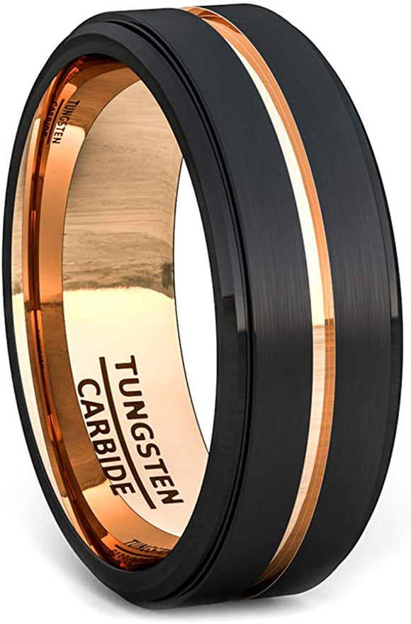 8mm Black Brushed Tungsten Ring Thin Rose Gold Groove Step Edge Comfort Fit