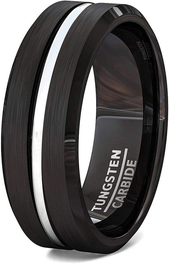 Black Tungsten Ring Brushed with Center Groove and Beveled Edges