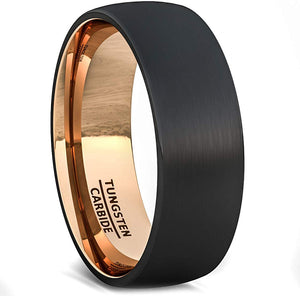 Two Tone Black Rose Gold Tungsten Ring Brushed Center Dome 8mm Comfort Fit