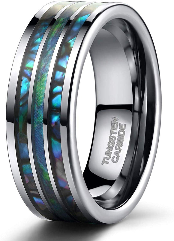 8mm Tungsten Rings Abalone Shell Inlay