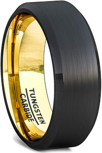 8mm Two Tone Black Tungsten Ring Matte Brushed Finish Surface Beveled Edge Comfort Fit Gold