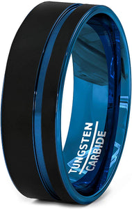 8mm Black Tungsten Ring Thin Side Blue Groove Flat Edge Comfort Fit