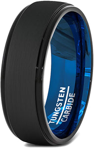 8mm Blue Black Brushed Mens Tungsten Ring Step Edge Comfort Fit