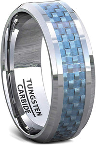 8mm Tungsten Ring Polished Blue Carbon Fiber Inlay Beveled Edge Comfort Fit