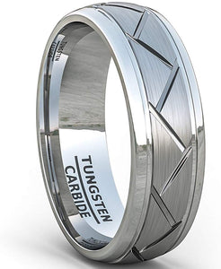 8mm Tungsten Carbide Ring Matte Brushed Zigzag Groove Line Comfort Fit White