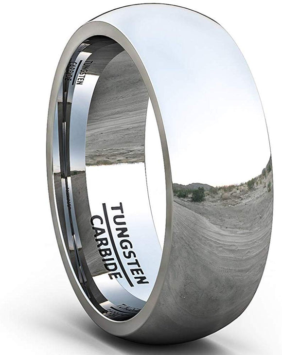 8mm Classic Polished Tungsten Ring Dome Comfort Fit