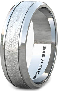 8mm Tungsten Ring Wire Brushed Beveled Edge Comfort Fit