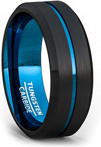 8mm Two Tone Black Tungsten Ring Thin Blue Line Groove Brushed Surface Beveled Edge Comfort Fit