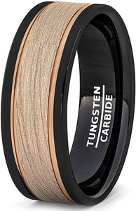 Black Tungsten Ring 8mm Rose Gold Brushed Double Groove Beveled Edge Comfort Fit