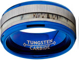 Tungsten Carbide Blue Wedding Band Ring Real Deer Antler Inlay Comfort Fit 9mm