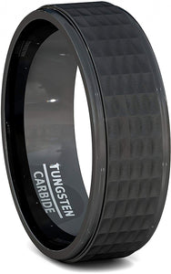 Tungsten Ring 8mm Hammer Surface Comfort Fit Band
