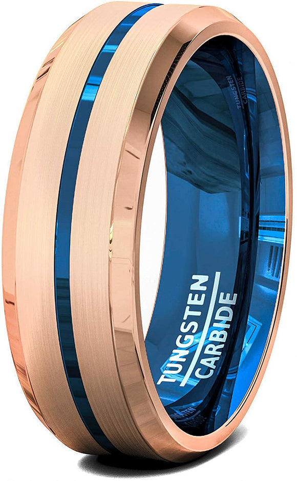 8mm Tungsten Ring Rose Gold Bonded Matte Brushed Center Blue Groove Line Beveled Edge Comfort Fit