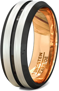 Tungsten Ring Rose Gold with Black Groove and Beveled Edge Comfort Fit 8mm