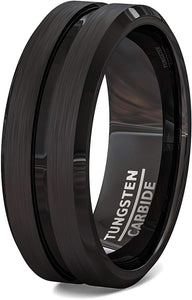 8mm BlackTungsten Ring Matte Brushed Finish with Center Groove Line and Beveled Edges Comfort Fit