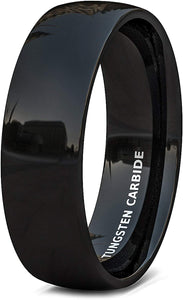 6mm Solid Black Polished Tungsten Ring Dome Comfort Fit