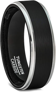 6mm Black Tungsten Ring Brushed Silver Step Edge Comfort Fit