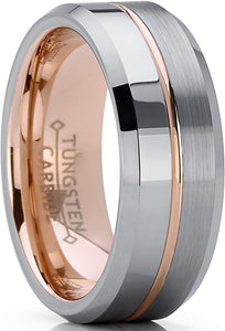 Rose Tone Tungsten Carbide Comfort Fit 8mm