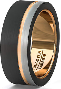 8mm Black White Brushed Tungsten Ring Thin Side Rose Gold Groove Flat Edge Comfort Fit