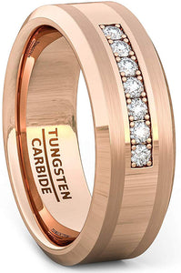 8mm Tungsten Carbide Ring 7 Stone White Sapphire Comfort Fit Rose Gold
