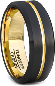 8mm Two Tone Black Tungsten Carbide Ring Thin Gold Line Groove Matte Brushed Surface Beveled Edge Comfort Fit