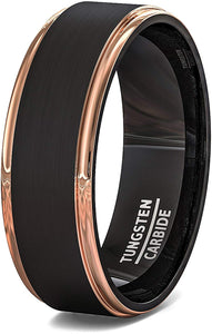 Black Mens Tungsten Ring Brushed 18k Rose Gold Plated Step Edges