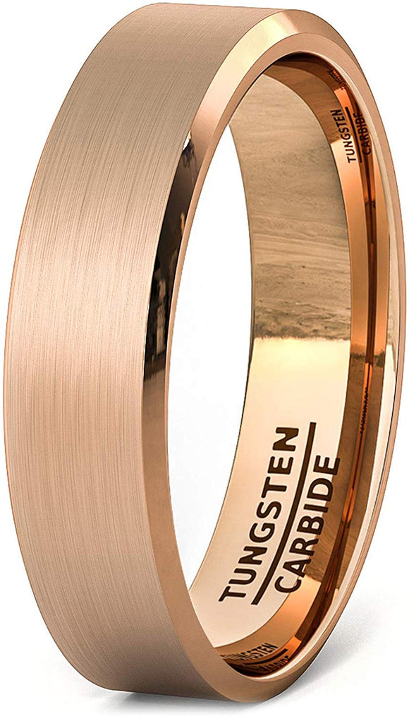 6mm Rose Gold Brushed Tungsten Ring Beveled Edge Comfort Fit