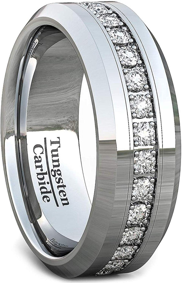 8mm Polished Tungsten Carbide Ring Fully Stacked White Sapphire Beveled Edge Comfort Fit