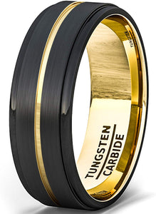 8mm Black Tungsten Ring Brushed with 18k Gold Plated Groove Step Edge Comfort Fit