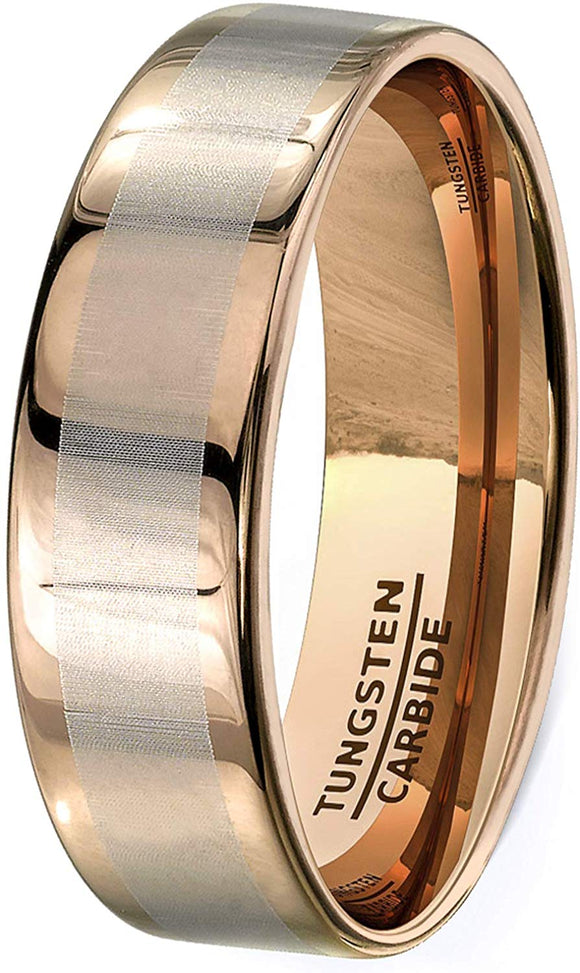 Rose Gold 8mm Tungsten Ring Laser Inlay Flat Edge