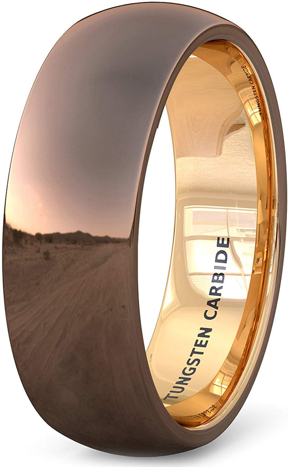 8mm Tungsten Ring Polished Brown Inside Rose Gold Dome Comfort Fit