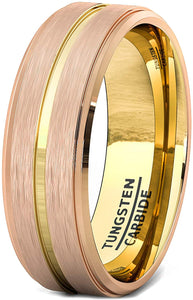8mm Tungsten Ring Rose Gold Brushed Step Edge with 18k Plated Gold Groove Comfort Fit
