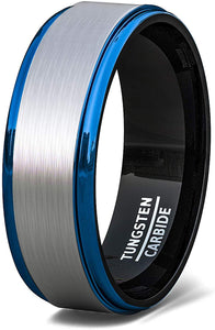 Tungsten Ring White Brushed Surface Black Inside Blue Step Edge Comfort Fit