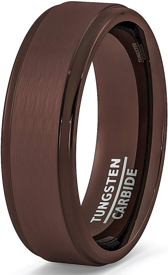 Rare Brown Tungsten Ring Step Edge Comfort Fit
