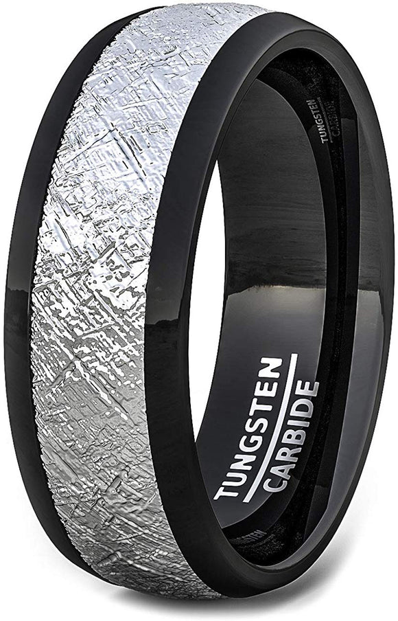 8mm Black Tungsten Ring with Imitation Meteorite Texture Dome Comfort Fit