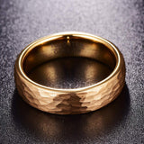6mm Gold Tone Hammered Tungsten Carbide Ring Domed