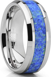 Tungsten Carbide Wedding Band Ring with Blue Green Simulated Opal Inlay 8mm