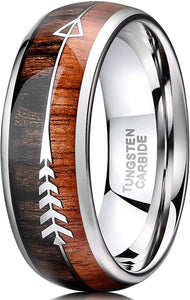 8mm Tungsten Koa Wood Arrows Inlay Vikings Hunting Ring