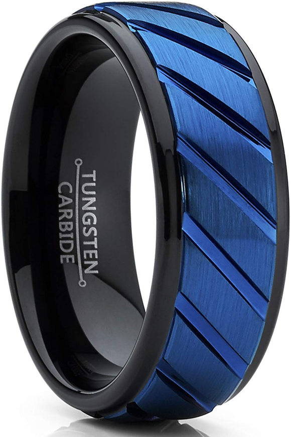 Tungsten Carbide Black and Blue with Grooved Raised Center, Comfort Fit
