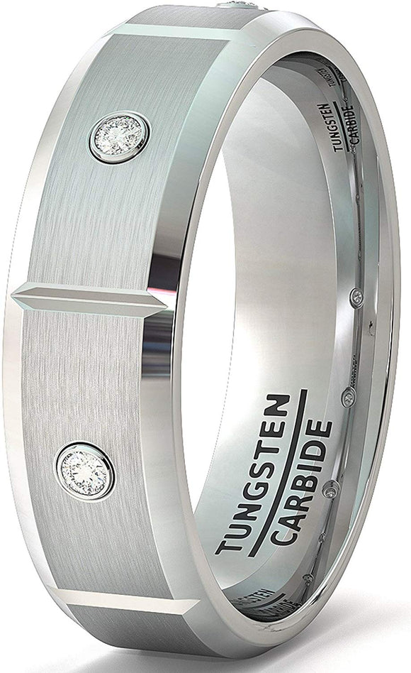 8mm Tungsten Ring Beveled Edge Satin Sectioned with White Sapphire Comfort Fit